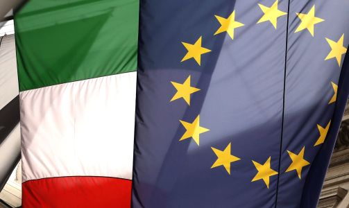 Italian and European Union banners.