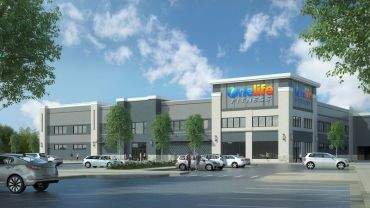 Rendering of OneLife Fitness at Research Row Retail Center in Rockville, Md.
