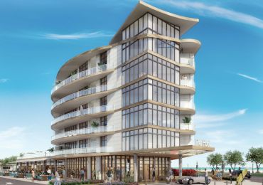 Rendering of Kushner's Minno & Wasko-designed six-story, 67-key hotel coming to Pier Village in Long Branch, N.J.