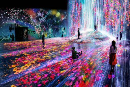 """The exhibition pictured, called """"Universe of Water Particles on a Rock where People Gather,"""" is currently being staged at TeamLab's Tokyo gallery."""