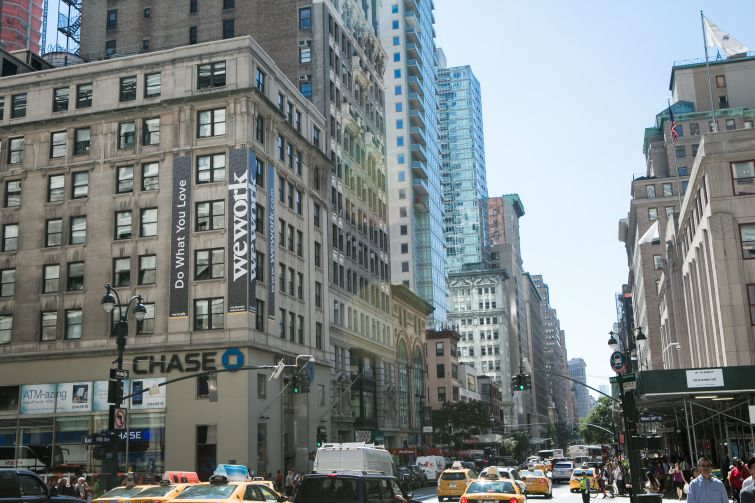 WeWork signage at 349 Fifth Avenue.