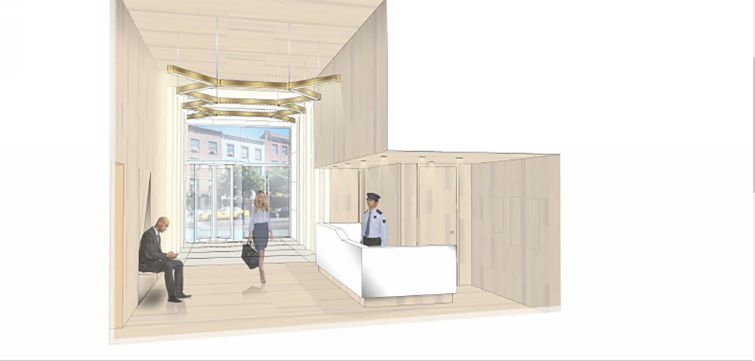 A proposed lobby renovation at 57 Willoughby with new wood-look tiling and new light fixtures.