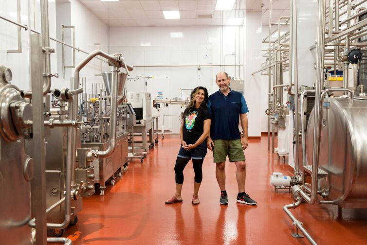 Jackie Cuscuna and Brian Smith inside the factory.