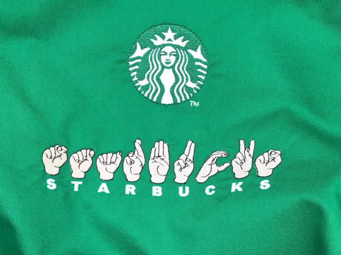 Starbucks apron.