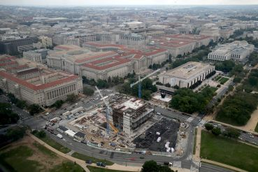 Construction of the National Museum of African American History and Culture on the National Mall in October 2014.