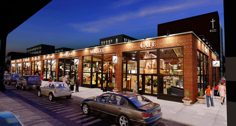 A rendering of the planned Astoria Artisan food hall at 34-39 31st Street, on the border between Long Island City and Astoria.