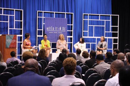 Lisa Mallory, CEO of District of Columbia Building Industry Association; Pamela Bundy, President & CEO of Bundy Development Corporation; Vicki Davis, Managing Partner at Urban Atlantic; Jami Passer CIO of EDENS; and Barbara Mullenex, Managing Principal of Perkins Eastman DC