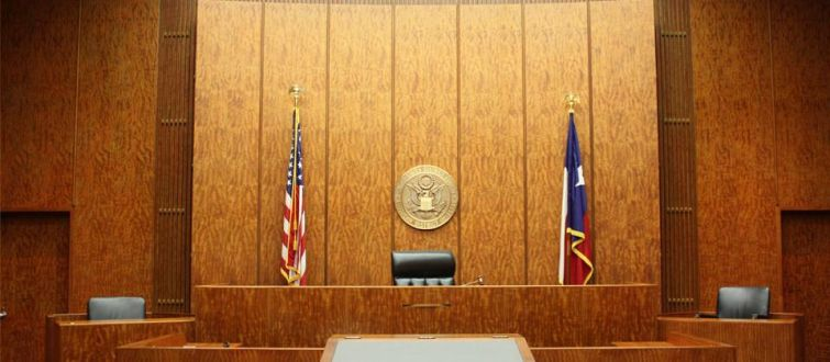 A courtroom in Bob Casey Federal Courthouse in Houston.