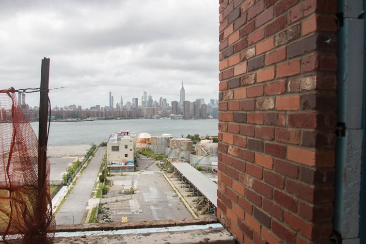A view of the industrial site that will become the last section of Bushwick Inlet Park, from 25 Kent.
