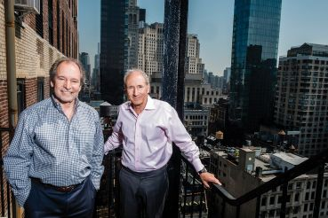 Jeffrey (left) and Michael Kleinberg, principals at interior design firm MKDA, at their Flatiron District offices.
