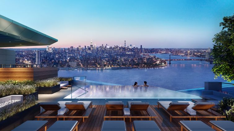 A rendering of Brooklyn Point's infinity pool.