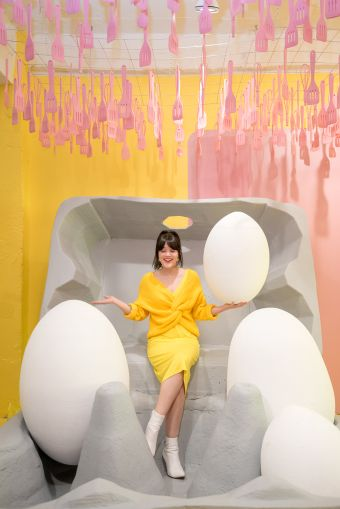 The Egg House at 195 Chrystie Street let visitors take photos inside a giant carton of eggs.