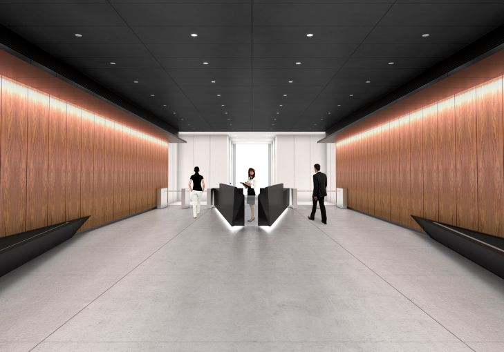 A rendering of the lobby at 787 11th Ave.