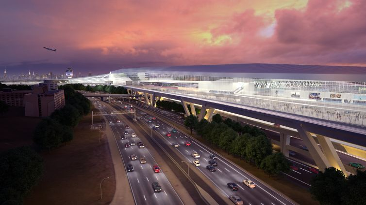 A rendering of LaGuardia Airport's new central terminal.