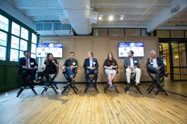 Moderator Jonathan Mechanic and panelists MaryAnne GIlmartin, Bart Higgins, Whitten Morris, Toby Moskovitz, Michael Rudin and Glen Siegal at Commercial Observer's Brooklyn, Queens Forum.