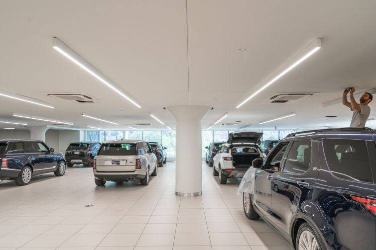 The Land Rover showroom on the third floor of 787 11th Avenue.