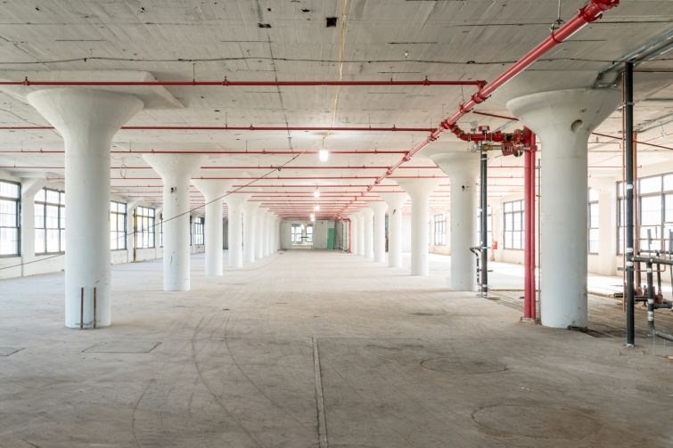 A look at one of the renovated floors in an Albert Kahn-designed factory building at 47 Hall Street.