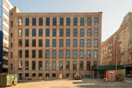 One of the heavy timber buildings at the 47 Hall Street complex in Brooklyn, which is undergoing a major renovation.