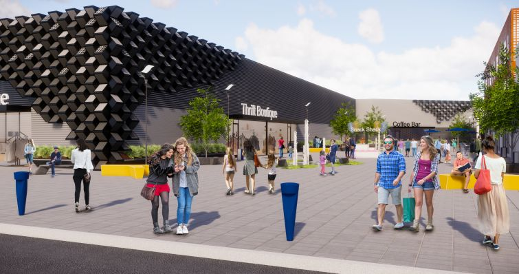 Rendering of the retail plaza entryway of Re-Habit.