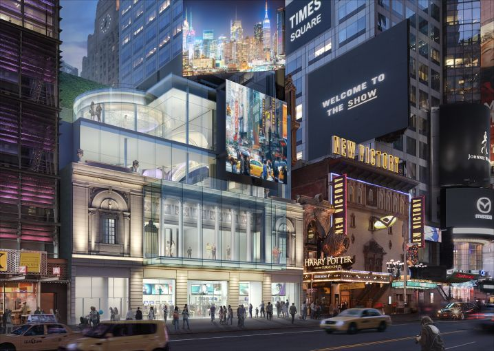 The Times Square Theater is being largely demolished for a new glass retail project, but the developer is preserving the facade and some historic interior elements.