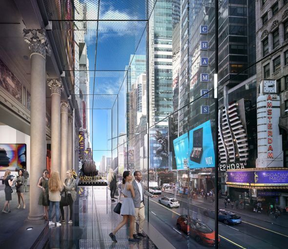 Visitors will be able to walk out over 42nd Street in the new Times Square Theater building.