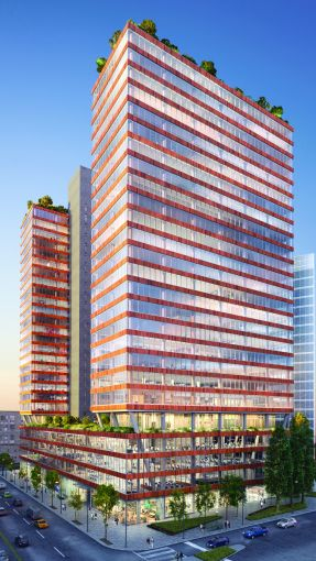 New Line Structures is currently installing a glass curtain wall on the JACX, Tishman Speyer's 1.2-million-square-foot office complex in Long Island City.