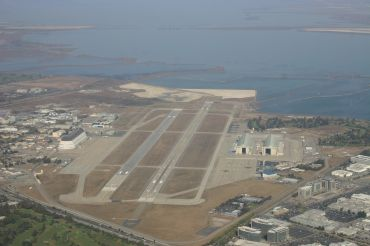 Sunnyvale, Calif.'s government airport Moffett Field, with the Moffett Towers location seen bottom right.