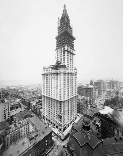A construction shot of the Woolworth Building as it nears completion in 1913.
