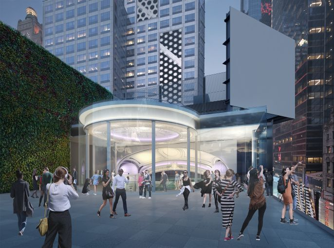 The redeveloped Times Square Theater will have a roof deck for a future retail tenant and its customers.