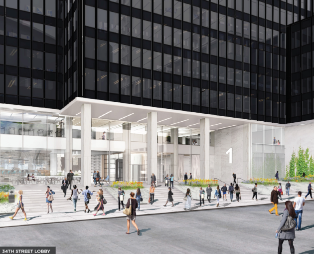 Planned renovation of the 34th Street entrance for 1 Penn Plaza.
