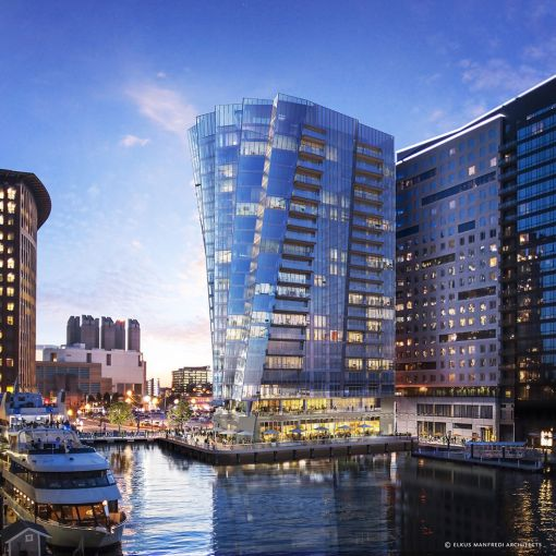 A rendering of St. Regis Residences, Boston at 150 Seaport Boulevard.
