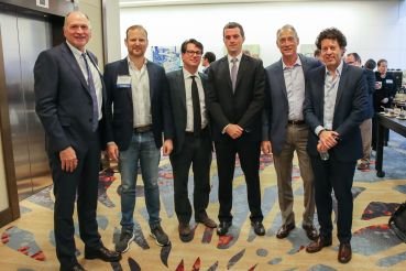 """The """"Everything's Rosy""""panelists. From left to right: Thomas Whitesell, Norman Jemal, Jeff Fastov, Kevin Cullinan, Eric Ekeroth and Simon Ziff"""