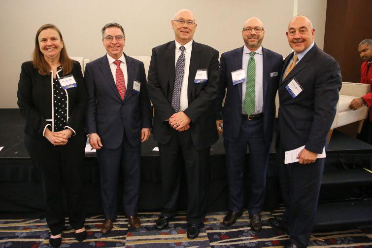 "The ""Battle Royale"" panelists. From Left to Right: Elaine Scivetti, Greg Murphy, Jay Arvai, Greg Michaud and Joseph Iadarola."