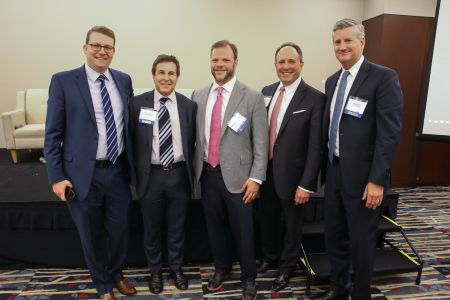 """The """"Owner's Perspective"""" Panelists. From Left to Right: Brian Gould, Gary Block, Matthew Pestronk, Jeffrey Keitelman and Oliver Carr."""