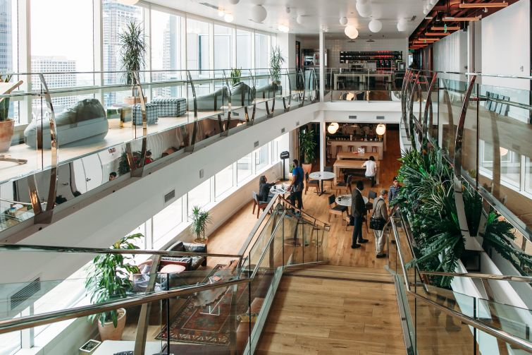 The common area at WeWork Gas Tower in downtown Los Angeles.