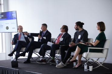 Michael Zetlin moderates a panel on Downtown's economic revival with Marty Burger, Douglas Durst, Dan Gardner and Jessica Lappin at CO's Downtown event.