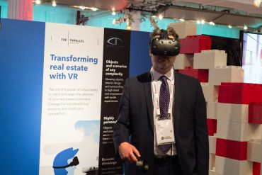 An attendee testing out The Parallel's virtual reality software at MIPIM PropTech Summit.