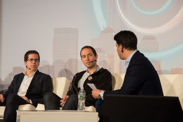 Skyline A.I. CEO Guy Zipori (left) and Knotel co-founder Edward Shenderovich on a panel about fundraising.