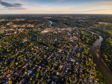 Aerial view of Fredericksburg, Virginia