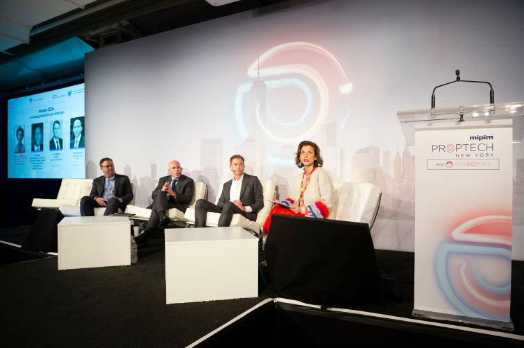 From left: Chris Marlin, president of Lennar International, Scott Rechler, CEO of RXR Realty and Ric Clark, chairman of Brookfield Property Partners at a panel at MIPIM PropTech Summit moderated by Chantal Clavier of Heidrick & Struggles.