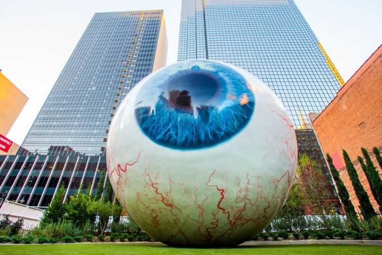 The Eye at The Joule Hotel, a 30-foot-tall art exhibit designed by Tony Tasset that was added to the grounds of the hotel on Main Street in Downtown Dallas in 2009, a year after its opening.