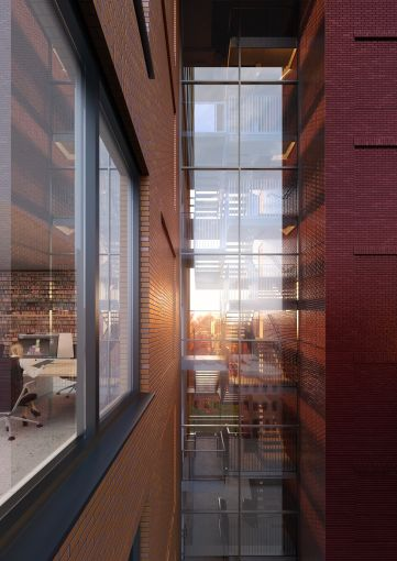 Youngwoo's Radio Tower will have a glass atrium that allows passersby to see into the courtyard from the street.