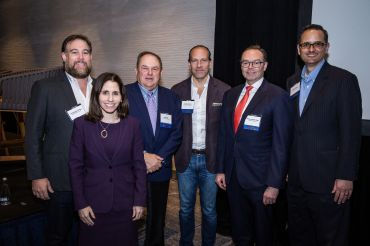 From left to right: Christopher Rising, Loryn Arkow, Bob Hart, Arturo Sneider, Rick Vogel and Brian Saenger.