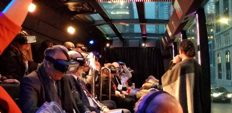 JLL gave ICSC attendee's the feeling of flying on The Ride bus tour.