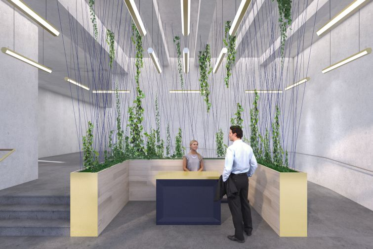 The planned lobby for the Cardinal Building will feature an unusual reception desk and polished concrete floors.