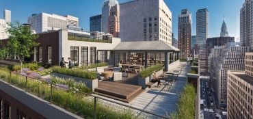 A rendering of what Harman's outdoor space could look like at 19 West 44th Street.