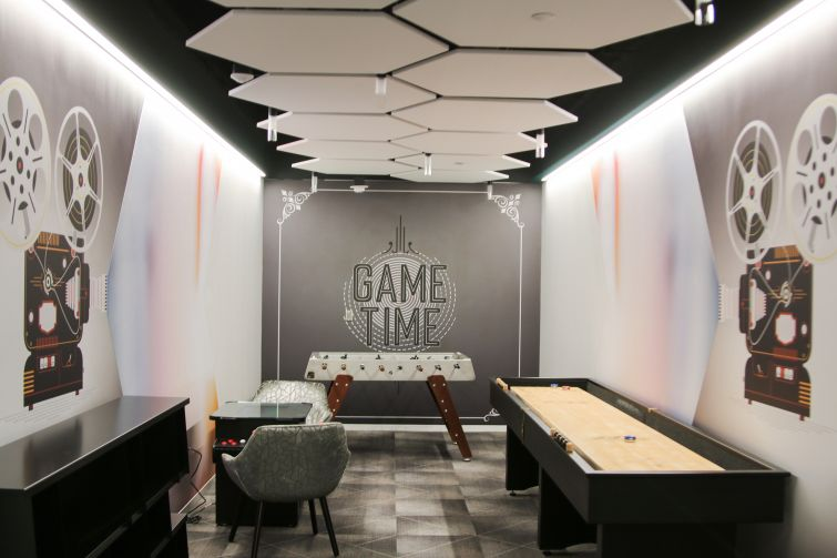 Game on! The vintage-stye game room offers EY staff a novel option for break time.
