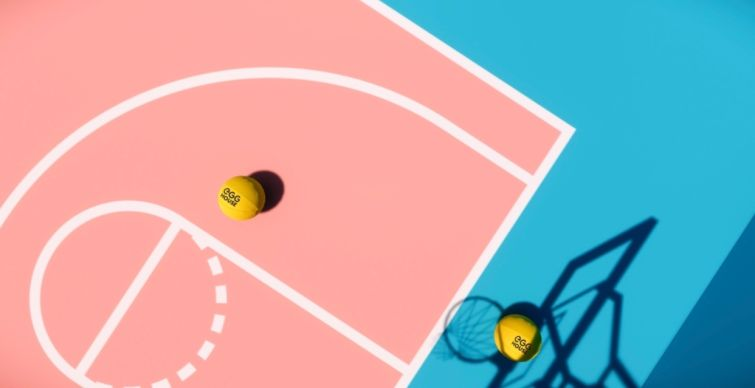 A 750-square-foot pink and blue basketball court at Egg House LA will pay homage to the Staples Center.