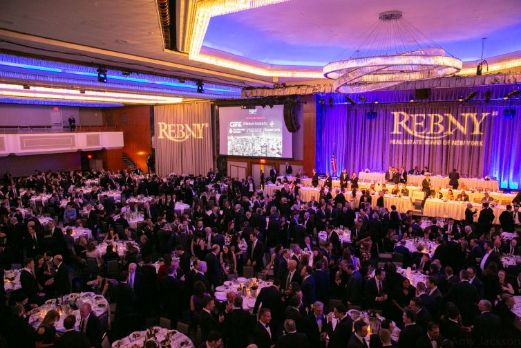Roughly, 2000 attendees pack the ballroom of the Midtown Hilton at the 2019 REBNY Banquet.