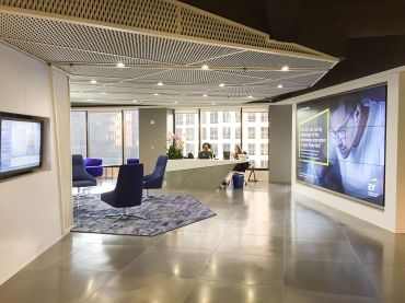 A revamped reception area at EY's office in downtown Los Angeles.